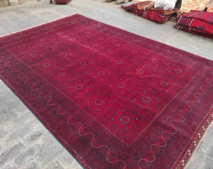 8x12 Ft Khamyab High-quality floor rug, Big size rug, Bokhara Turkmen rug, Red Persian decor rug, Soft Woolen Living room rug, Afghan Rug