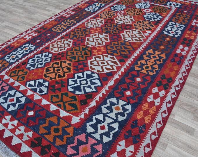 Stunning Vintage Afghan Maimana Red Kilim Rug with Beautiful colors Geometric Design Handwoven Flat woven Big Size Kilim Rug