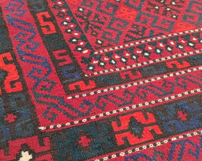 6.9x10 Kilim rug, rugs fringe rug, abstract rug, area rug, moroccan rug, southwestern rug, vintage doormat rug, turkish rug, colorful rug