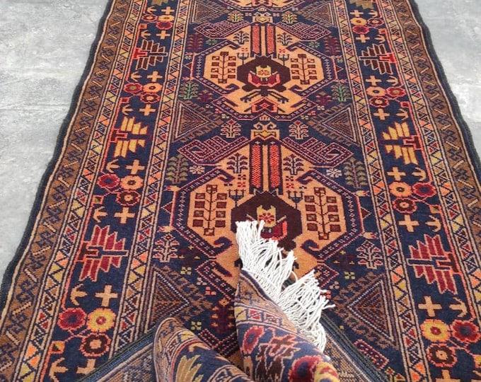 Soft Runner Rug, Hand Knotted Low Pile Rug, Blue Green Runner Rug, Antique Runner Rug, Boho Rug, Afghan runner rug