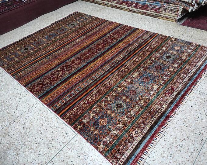 7x10 Afghan rug, hooked rugs large, southwestern rug, morocco rug, small rug, decorative rug, fringe rug, rug runne,r scandinavian decor