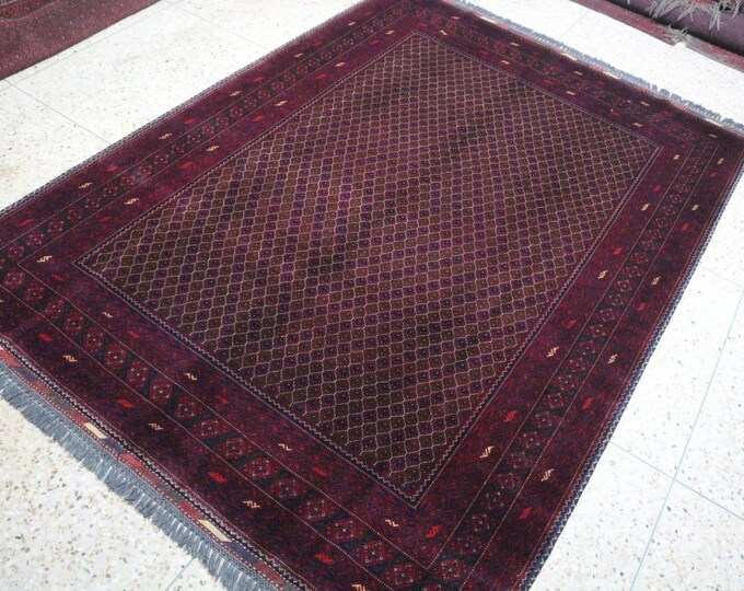 7X10 Ft Afghan Merinos Hand-knotted rug, Tightly knotted, Soft High quality Wool of Sheep, large red area rug, tribal rug, red persian rug