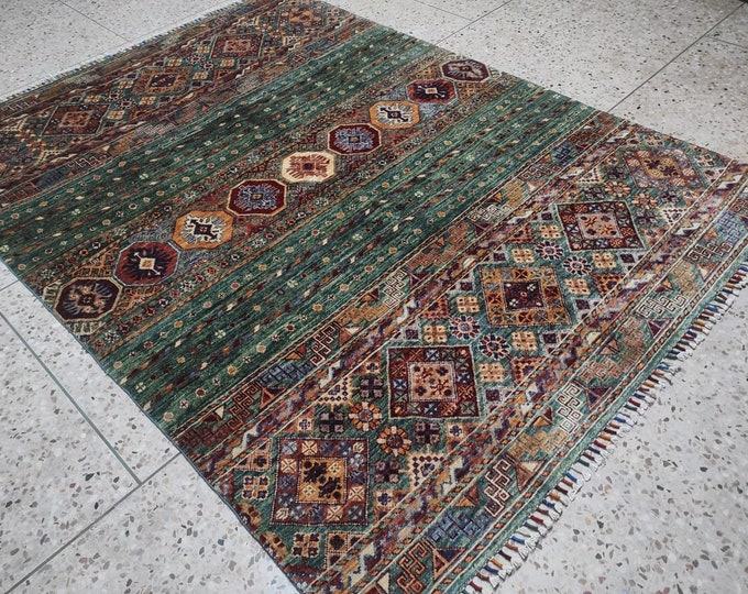 5X7 Red Navy Blue Brown Green Handmade Afghan Rug   Hand Knotted Hand Woven Wool   Vintage Tribal Turkish Moroccan Oriental Persian