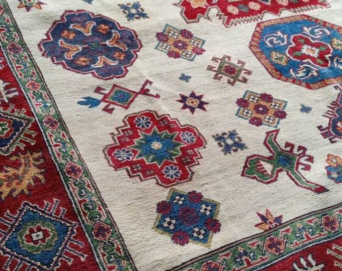 Kazak Rug 8X10 Afghan Carpet Caucasian Rug Kazakh Rug Area Rug Large Vintage Rug Afghan rug Turkmen rug geometric rug Vintage Persian rug