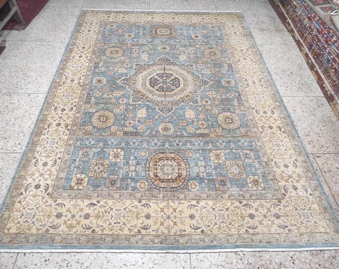 7x10 Red Turkish Mamluk Area Rug - Hand Knotted Wool Medallion Rug - living room rug - Dining Table Rug, Bedroom rug, Office rug. Afghan rug