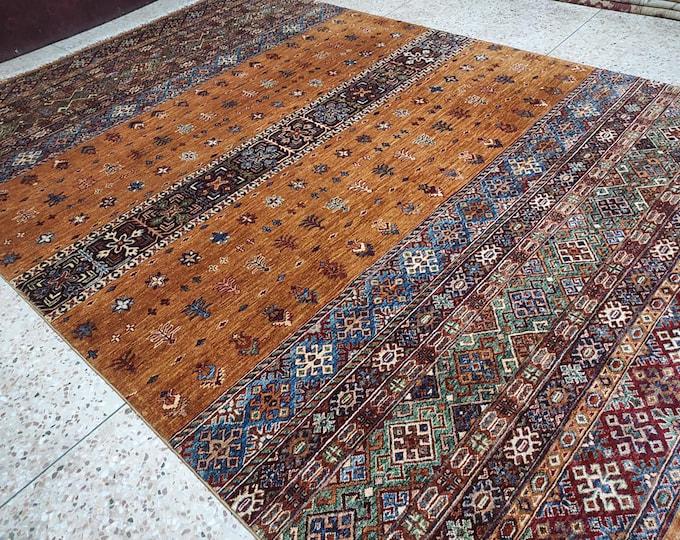 7x10 decorative rug, afghan rug, turkey rug, hand made rug, persian rug, neutral oriental rug, white rug, modern rug, fluffy rug, fringe rug