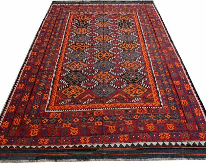 8'6x13'3 Tribal afghan area rug kilim/Kilim rug/Afghan Big Size Kilim Rug/Kilim rug/Moroccan rug/vintage classic rug/area rug/flat-woven rug