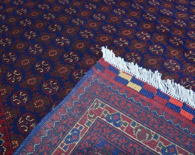 7X10 Ft Afghan Famous Khojaroshnai well-made Handknotted Red Blue Morigol Rug, Bokhara Rug