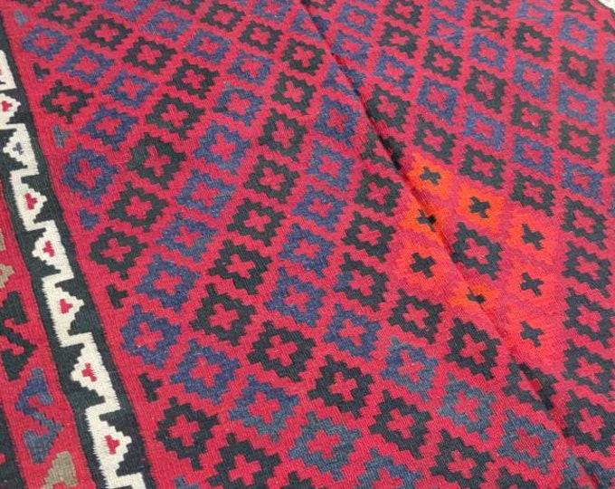 Vintage rug Afghan Kilim rug 4'10X7'7 Ft Maimana Kilim Rug, bokhara rug, vintage flower shape rug, area rug, morocco rug, traditional rug