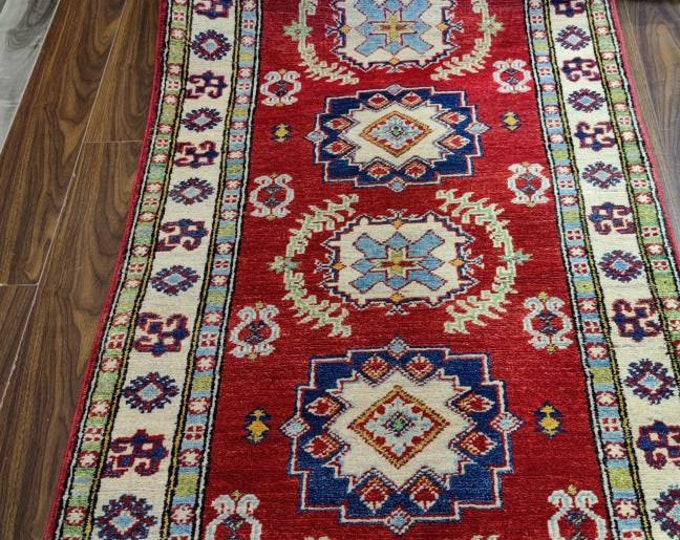 Runner rug Kazak Rug 2.7X9.9 Ft  jute rug, rugs for living room, housewarming gift, shag rug, kitchen rug, war rug, floor rug, dusty rose ru