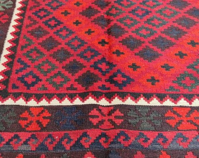 Stunning Vintage Afghan Ghulmori Red Kilim Rug with Beautiful colors Geometric Design Handwoven Flat woven Big Size Kilim Rug