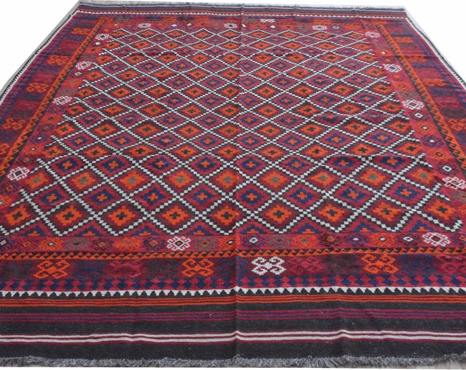 8'6x13 ft Big Size Soft Well-made Afghan Maimana Red Rug Kitchen Office, Carpet Flat Woven Kilim Rug Handwoven Flat woven Kilim Rug