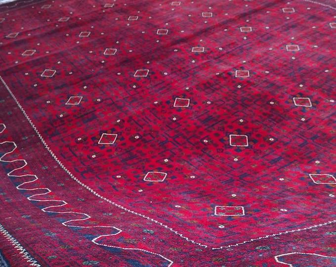 Afghan rug 10x13 Ft Excellent Quality Khamyab  Handmade Rug, Turkman Red Rug, Turkmen Rug, Persian Rug, Area Rug, Oriental Rug, Afghan Rug