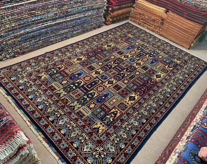 WELL-MADE SOFT Handmade Afghan Turkmen Persian Design area rug, Living room size rug, Elegant Rug, Soft wool rug