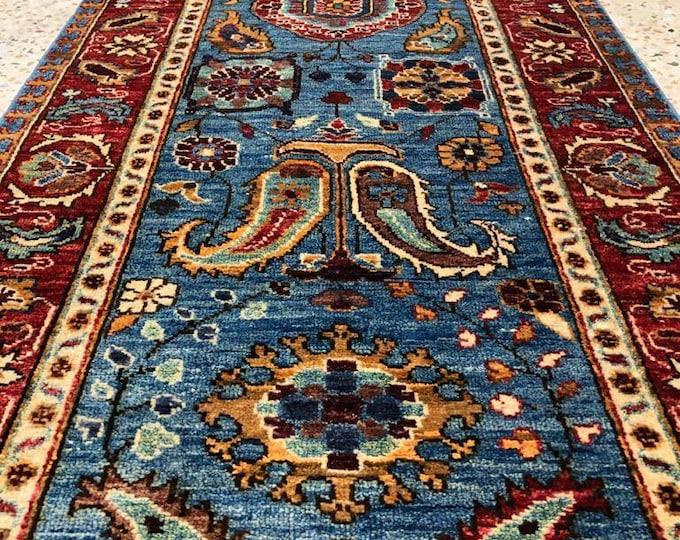 Mamluk Runner, Zeigler Handmade Afghan Rug, Runner Rug, Afghan Rug, Turkmen Rug, Chobi Rug, Oriental Rug, Turkish Rug, Blue Runner Rug