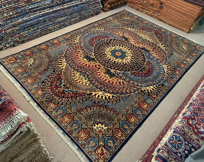 6.4X10 Ft Stunning Persian design made with High-quality of Afghan Ghazni wool, large room sized rug oriental style low pile Rug