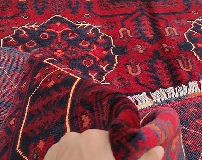 4x6 Afghan rug, hooked rugs large, bokhara rug, nursery decor, farmhouse decor, home decor rug, bohemian rug, tribal rug, scandinavian decor