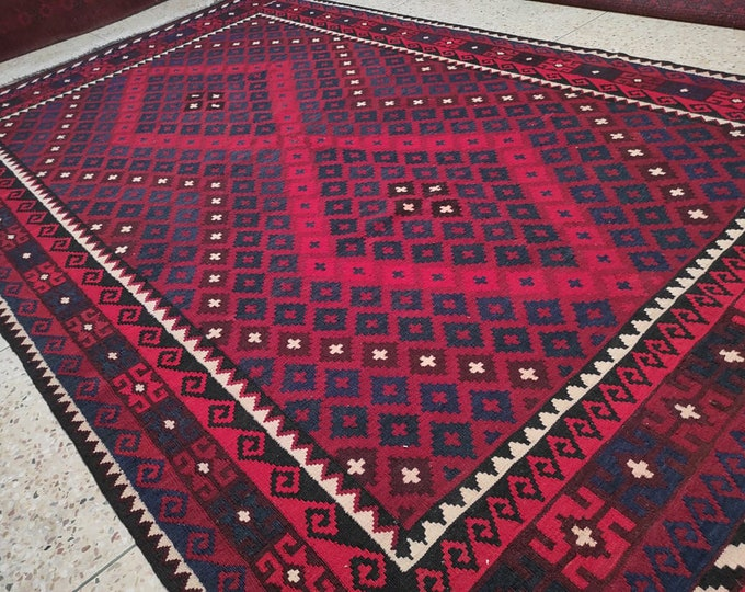 7x11 floor rug, vintage flower shape rug, small rug, area rug, blanket, area rugs, fringe rug, sumak rug, kilim runner rug, afghan carpet