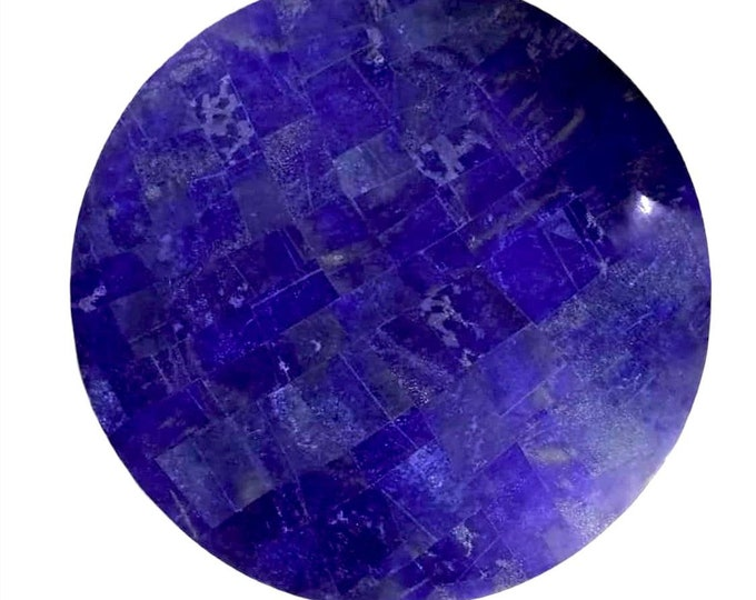 Round Shape Lapis Lazuli Table Top with White Marble 15.75 Inches from Afghanistan,