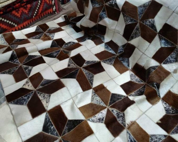 6x6 Ft Cowhide Striped Square Rug Real Cowskin Fur Patchwork Carpet Living Room Bedroom Decoration Real Leather Rug