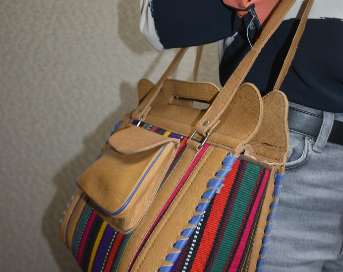 Afghan leather shoulder bag   brown leather purse   leather purse kilim bag  brown leather satchel   brown leather tote
