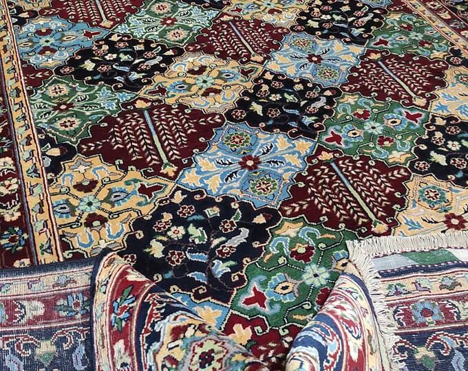 7x10 turkish rug, area rug, navajo rug, housewarming gift, aztec rug, leather bags, red rug, decorative rug,teal rug, oushak vintage rugs