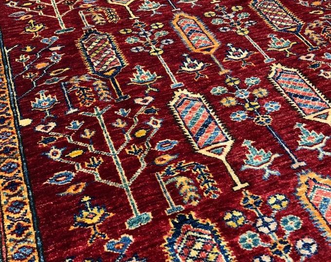 Super Kazak rug 5 X 6'71 Afghan Kazak fine rug tightly knotted soft handmade kazak blue rug