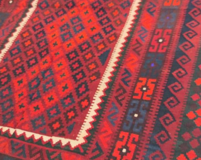 Vintage rug Afghan Kilim rug 5'3X8'4 Ft Maimana Kilim Rug, bokhara rug, vintage flower shape rug, area rug, morocco rug, traditional rug