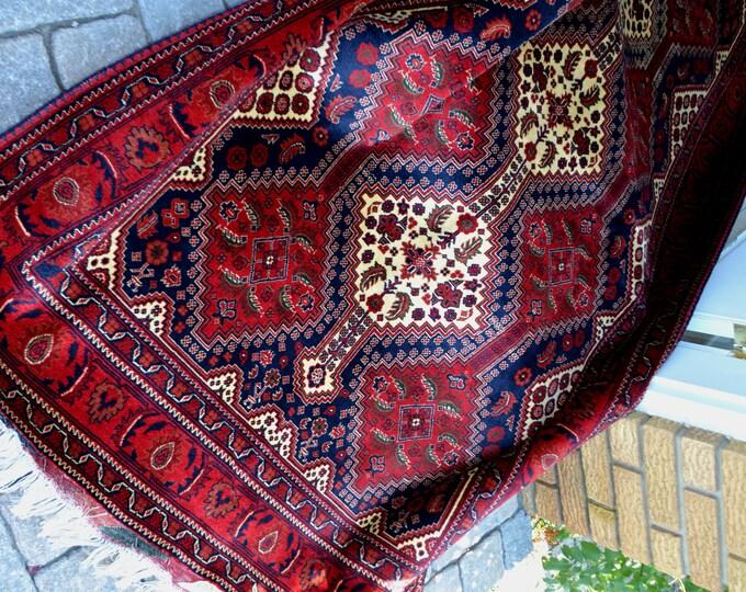 Belgique Afghan Rug, High Quality Rug, Double knotted rug, Merino wool Rug, Turkmen Rug, Area Rug, Elegant Red Rug, Home Decor, Afghan Rug