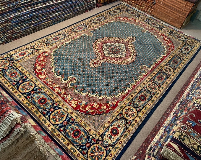 7x10 Ft Living Room Size Merinos Afghan Handmade Rug Made with SOFT Wool of Sheep with Vibrant Colors Natural Dyes