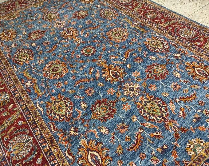 Blue 7x10 Turkish Mamluk Area Rug - Hand Knotted Wool Rug - living room rug - Dining Table Rug - Bedroom rug - Office rug - Afghan rug