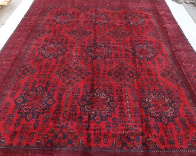 10x13 Afghan rug, large bokhara rug, area rug, sumac rug, khamyab, red rug, turkish rug, persian rug, handmade rug