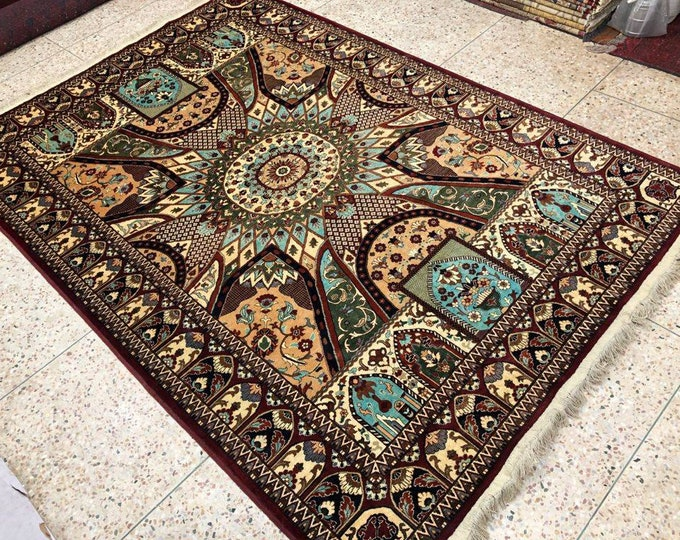 Highly tighten knotted 45/45  6.6x9.4 Ft Afghan Double-Knotted Excellent Fine Wool Rug, Oriental Rug, Hand-knotted Rug, Persian Rug