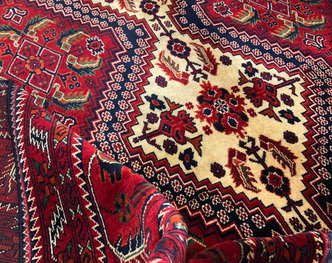 6X8'43 Ft Highest quality Double Knotted Beljik Soft Well-made Afghan Merino Handmade Area Rug, Hand-knotted Oriental Geometric Rug