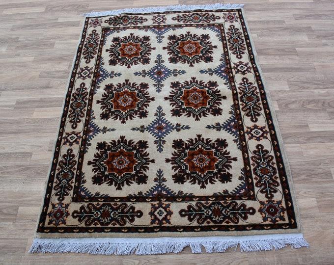 3'5X5 ft Floral Handmade Spun Wool Rug, Authentic High Quality Very Soft Afghan Handmade Chobe Marinos rug Oriental Persian Design Rug