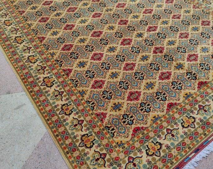8x11 Ft Merinos Afghan large rug, Well-made Soft Geometric Hand-knotted Rug, Handmade rug, Large rug,Bohemian rug, Wool rug, Red Rug