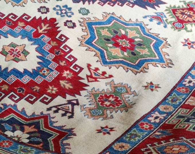 Kazak Rug 7.11X9.9 Ft bedroom rug, living room rug, shag rug, hooked rugs large, home decor rug, hand made rug, oriental rug, turkish