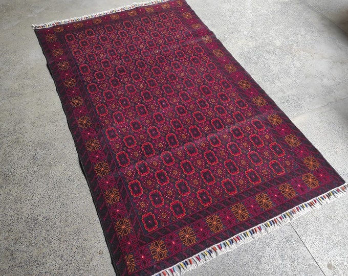4x7 Afghan rug, farmhouse decor, doormat rug, housewarming gift, vintage, scandinavian decor, woven rug, decorative rug, faded tribal rug