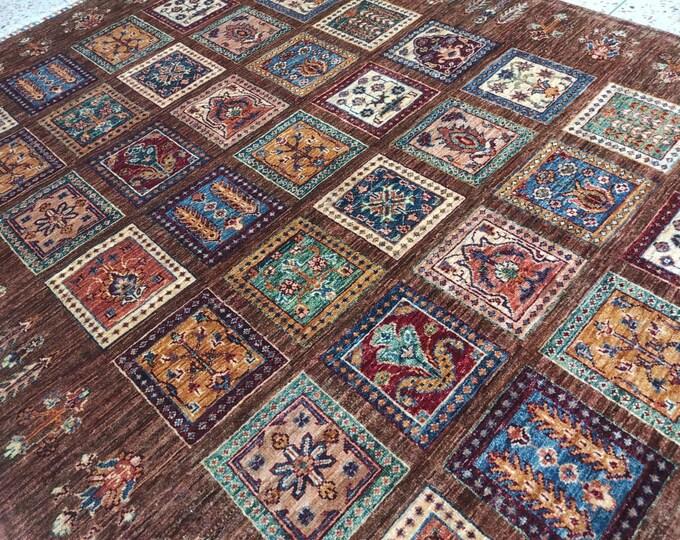 5x7 sumac rug, vintage flower shape rug, patio rug, scandinavian decor, oriental rug, entryway rug, shag rug, hooked rugs large, turkish rug