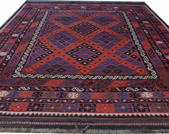 Afghan Kilim Rug, Handmade Kilim Rug, Maimana Kilim Rug, Vintage Kilim Rug, Wool Pink Kilim Rug, Area Kilim Rug, 394x237 cm, 12.11x7.9 ftf