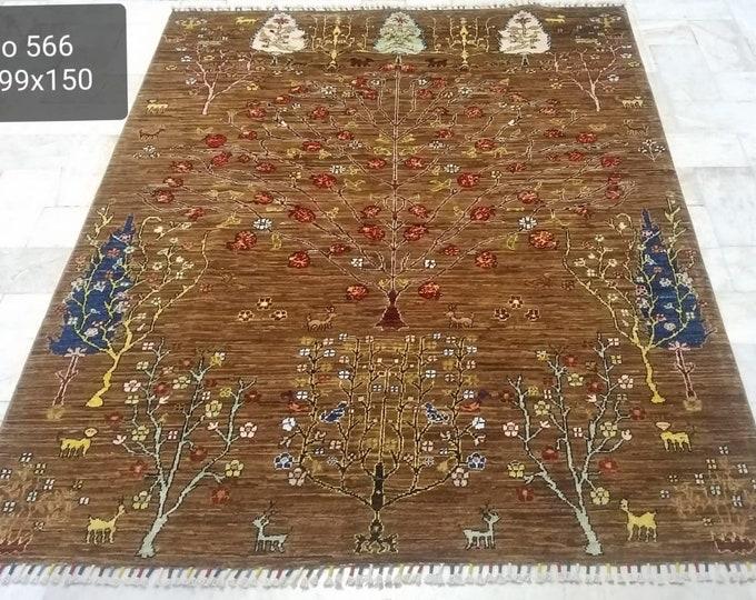 5x7 deco -handmade, neutral oriental rug, small rug, woven rug, sumak rug, bohemian rug, morocco rug, abstract rug, baluch rug, vintage rug