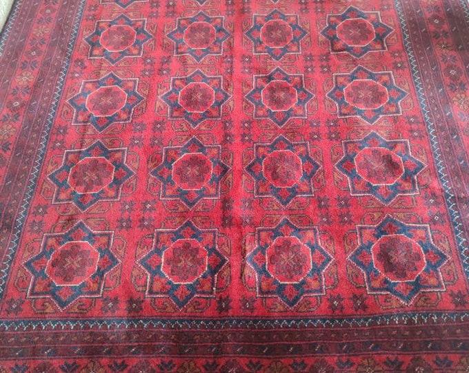 5X6'7 Ft Red Afghan Handmade Woolen Rug  bokhara rug woolen red rug woolen rug, indoor carpet Oriental Rug, Vintage Distress Rug, Carpet Rug