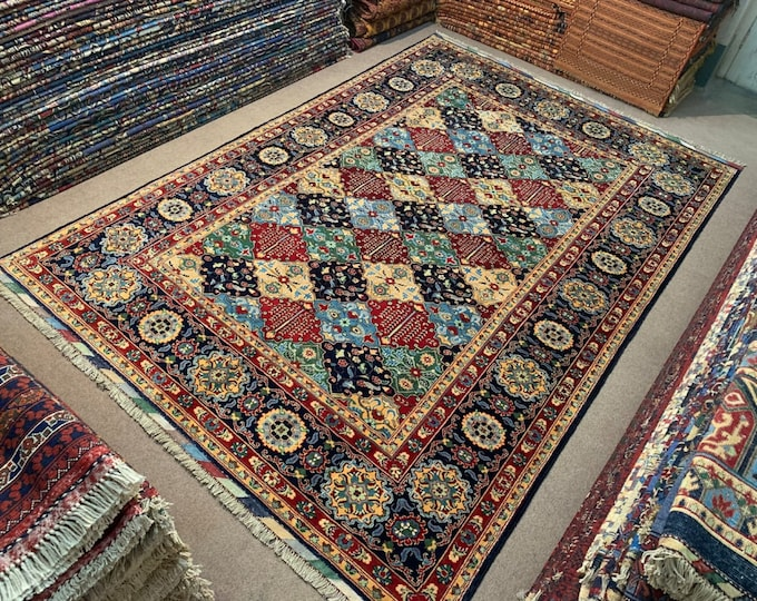 7X10 Ft Living Room Size Merinos Afghan Handmade Rug Made with SOFT Wool of Sheep with Vibrant Colors, Persian Design Colorful Rug