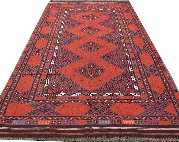 Kilim / Afghan Rug / Large Rug / Rug Runner / Kilim rug / Red Runner Rug / Floor Rug / Area Rug / Rustic Rug / Woven Rug / Hallway Rug