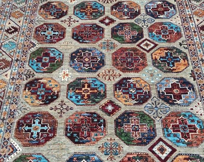 7x10 Ft Merinos Afghan large Chibi rug, Well-made Soft Geometric Hand-knotted Rug, Handmade rug, Large rug,Bohemian rug, Wool rug, Red Rug