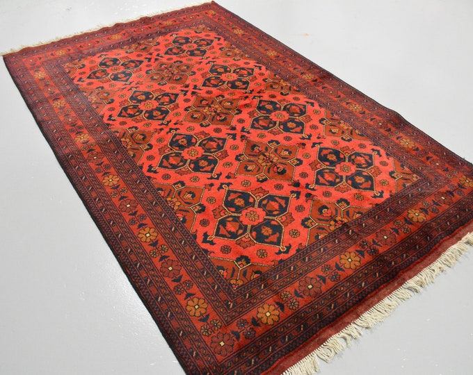 Extremely Soft Well-made Khamyab Soft Handmade Red Rug, Afghan Rug, Vegetable Dyes Soft high-quality Wool Hand-Knotted Afghan Khorasan Rug