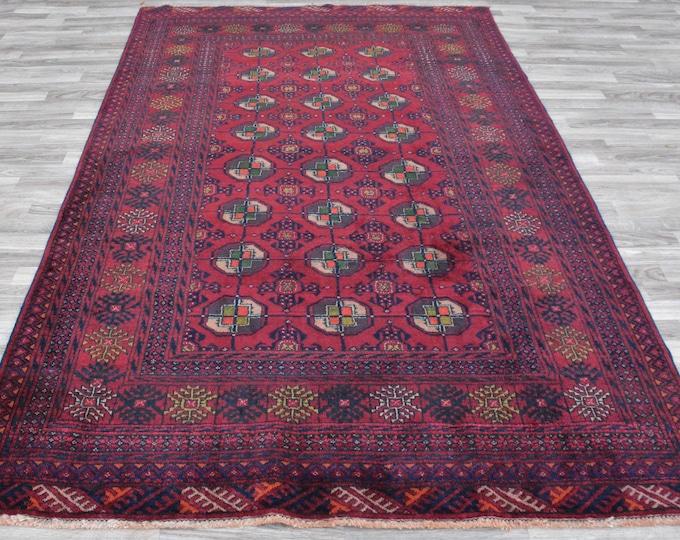 Beautiful well-made Afghan Handmade Vintage rug that feels incredibly soft!