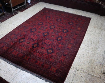 7X10 Ft Brand New Afghan Khamyab rug, large red area rug, tribal rug, red persian rug