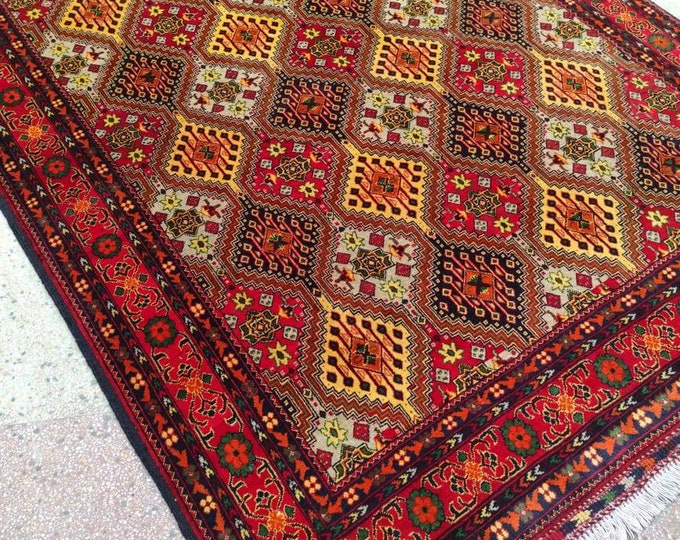Highly tighten knotted 50/50, 5x7 Ft Afghan Double-Knotted Excellent Fine Wool Rug, Oriental Rug, Hand-knotted Rug, Persian Rug