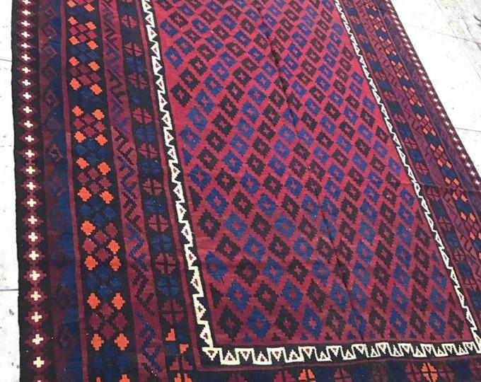 Vintage Rug Stunning vintage Afghan Tribal Maimana Area Kilim Rug, Tribal Maimana Wool Rug Kilim, Traditional Vintage kilim rug, Afghan Rug